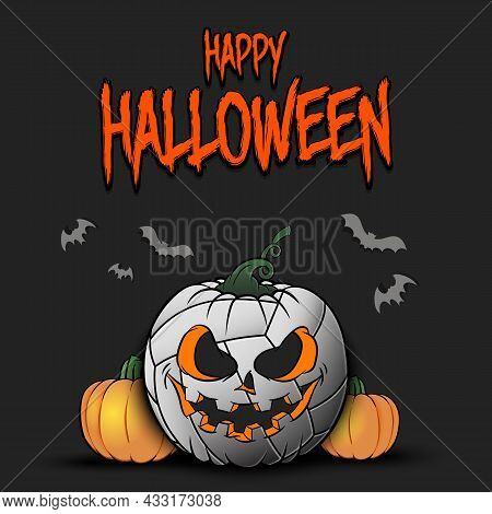 Happy Halloween. Volleyball Ball As Pumpkin