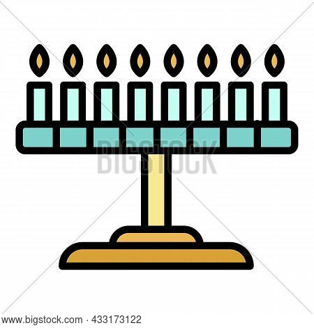 Candle Jewish Stand Icon. Outline Candle Jewish Stand Vector Icon Color Flat Isolated On White