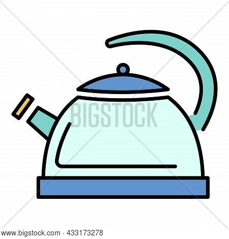 Whistle Kettle Icon. Outline Whistle Kettle Vector Icon Color Flat Isolated On White