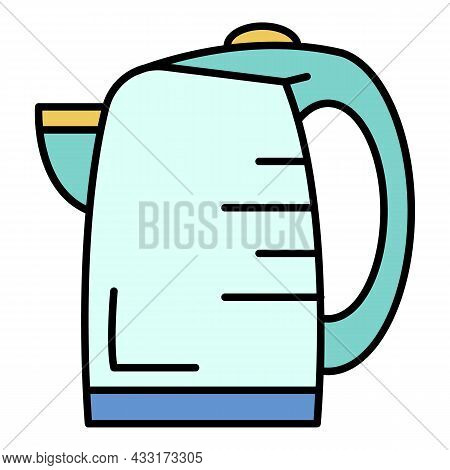 Transparent Kettle Icon. Outline Transparent Kettle Vector Icon Color Flat Isolated On White