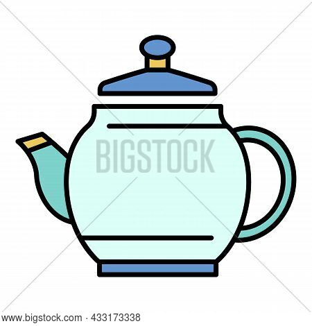Ceramic Teapot Icon. Outline Ceramic Teapot Vector Icon Color Flat Isolated On White