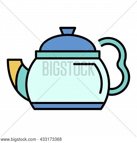 Black Teapot Icon. Outline Black Teapot Vector Icon Color Flat Isolated On White