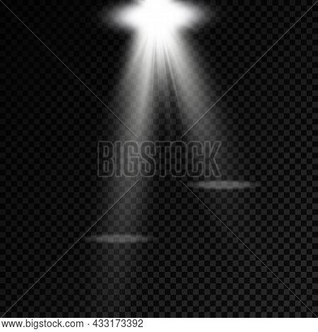 Set Of White Spotlight, Projector Light Effect.