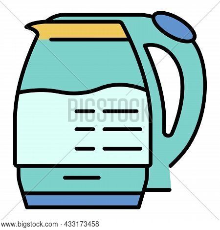 Electric Glass Kettle Icon. Outline Electric Glass Kettle Vector Icon Color Flat Isolated On White