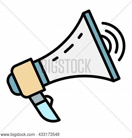 Loud Megaphone Icon. Outline Loud Megaphone Vector Icon Color Flat Isolated On White