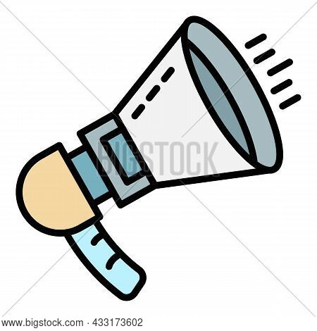 Noise Megaphone Icon. Outline Noise Megaphone Vector Icon Color Flat Isolated On White