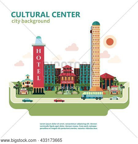 Cultural Center City Background With Theater Church And Stores Vector Illustration