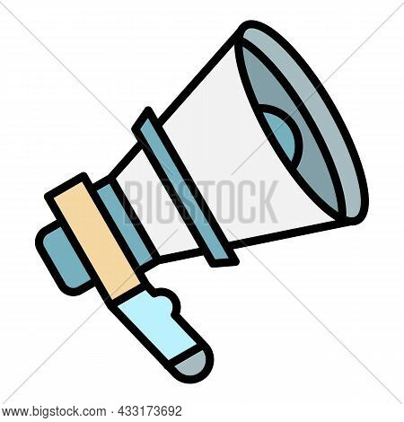 Voice Megaphone Icon. Outline Voice Megaphone Vector Icon Color Flat Isolated On White