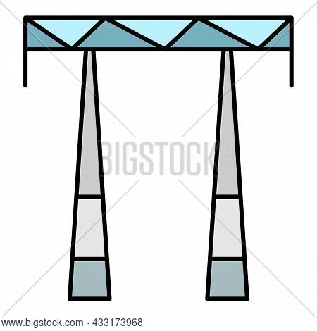 Ac Electric Tower Icon. Outline Ac Electric Tower Vector Icon Color Flat Isolated On White