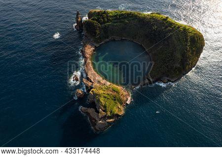 Spectacular Aerial Landscape Of Small Volcanic Uninhabited Vila Franca Islet With Green Vegetation,