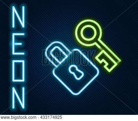 Glowing Neon Line Lock With Key Icon Isolated On Black Background. Love Symbol And Keyhole Sign. Col