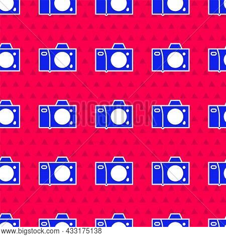Blue Photo Camera Icon Isolated Seamless Pattern On Red Background. Foto Camera Icon. Vector Illustr