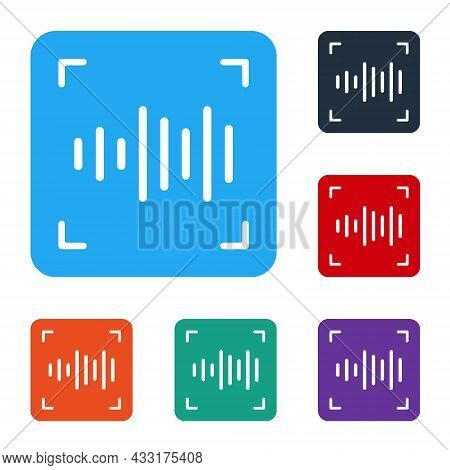 White Voice Recognition Icon Isolated On White Background. Voice Biometric Access Authentication For