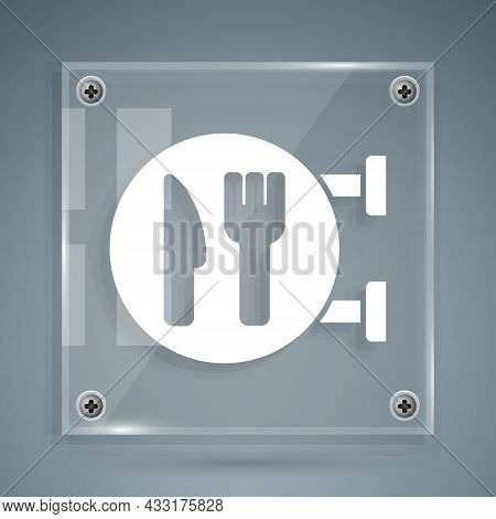 White Cafe And Restaurant Location Icon Isolated On Grey Background. Fork And Spoon Eatery Sign Insi
