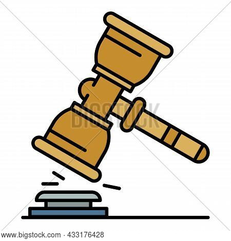 Judge Hammer Icon. Outline Judge Hammer Vector Icon Color Flat Isolated On White