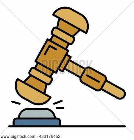 Judge Gavel Icon. Outline Judge Gavel Vector Icon Color Flat Isolated On White