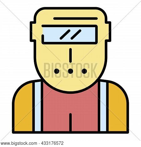 Welder Worker Icon. Outline Welder Worker Vector Icon Color Flat Isolated On White