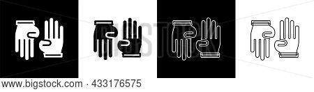Set Rubber Gloves Icon Isolated On Black And White Background. Latex Hand Protection Sign. Housework