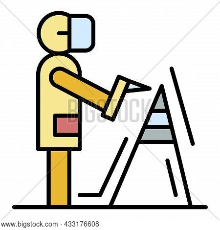 Welder Weld Metal Icon. Outline Welder Weld Metal Vector Icon Color Flat Isolated On White