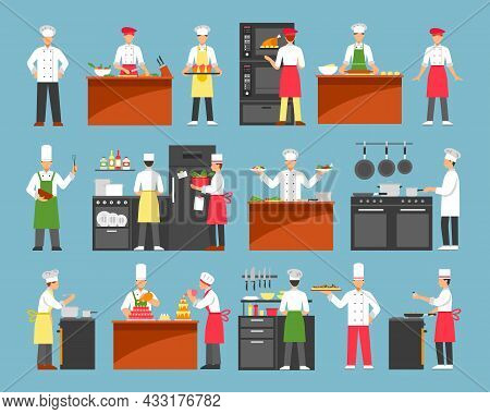 Professional Cooking Decorative Icons Set With Chefs At Cooker And Waiters With Trays Isolated Vecto