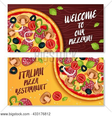Italian Pizza Horizontal Banners With Advertising Of Restaurant And Invitation To Visit Pizzeria Fla