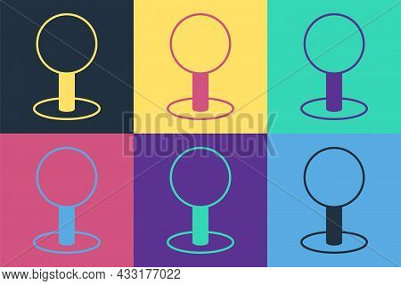 Pop Art Push Pin Icon Isolated On Color Background. Thumbtacks Sign. Vector