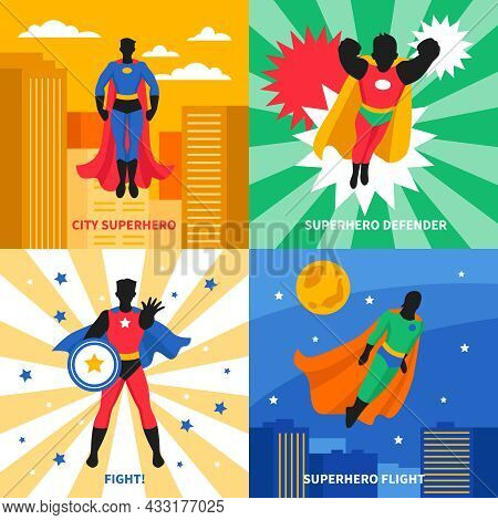 Superhero Defender 2x2 Design Concept Set Of Colorful Compositions On City And Abstract Backgrounds