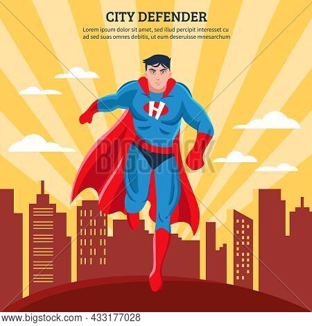 City Defender Flat Vector Illustration Of Superhero With Red Mantle Soaring Above Town Buildings In