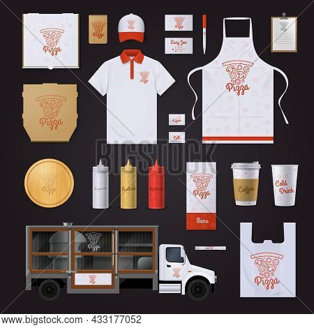 Fast Food Restaurant Corporate Identity Template With Pizza Ingredients Red Outline Samples On Black