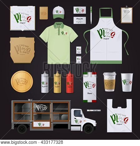 Italian Pizza Restaurants Chain Corporate Identity Templates In National Flag Colors Collection On B