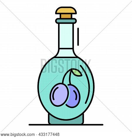 Olive Vinegar Icon. Outline Olive Vinegar Vector Icon Color Flat Isolated On White