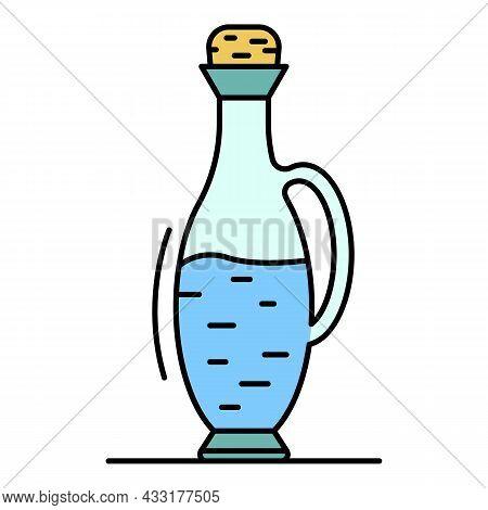 Balsamic Vinegar Bottle Icon. Outline Balsamic Vinegar Bottle Vector Icon Color Flat Isolated On Whi