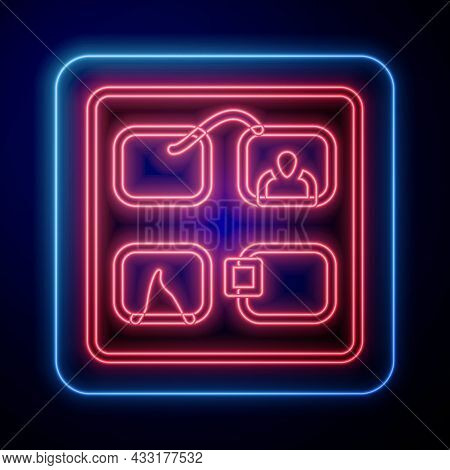 Glowing Neon Storyboard Film Video Template For Movie Creation Icon Isolated On Black Background. Ve