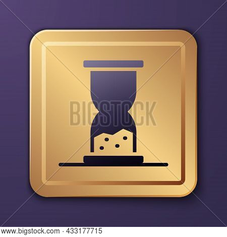 Purple Old Hourglass With Flowing Sand Icon Isolated On Purple Background. Sand Clock Sign. Business