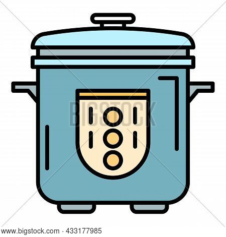 Automatic Cooker Icon. Outline Automatic Cooker Vector Icon Color Flat Isolated On White