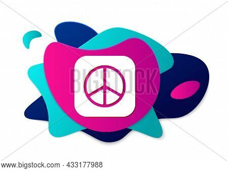Color Peace Icon Isolated On White Background. Hippie Symbol Of Peace. Abstract Banner With Liquid S