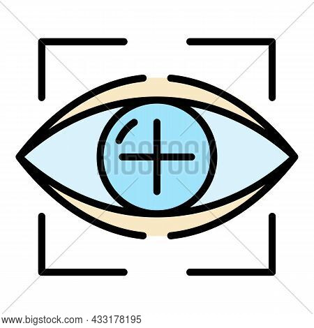 Target Eyeball Icon. Outline Target Eyeball Vector Icon Color Flat Isolated On White
