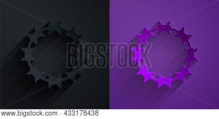 Paper Cut Crown Of Thorns Of Jesus Christ Icon Isolated On Black On Purple Background. Religion, Bib