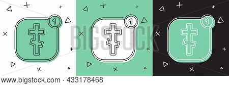 Set Online Church Pastor Preaching Video Streaming Icon Isolated On White And Green, Black Backgroun