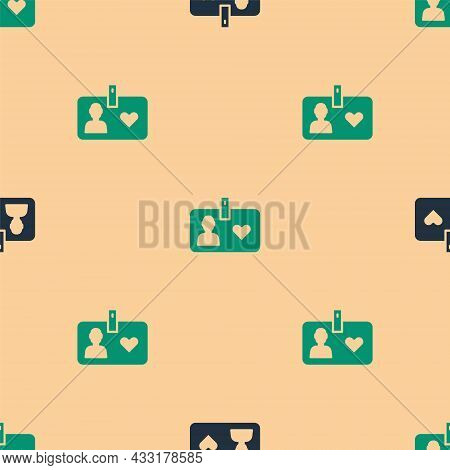 Green And Black Identification Card Volunteer Icon Isolated Seamless Pattern On Beige Background. Vo