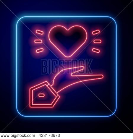 Glowing Neon Pleasant Relationship Icon Isolated On Black Background. Romantic Relationship Or Pleas