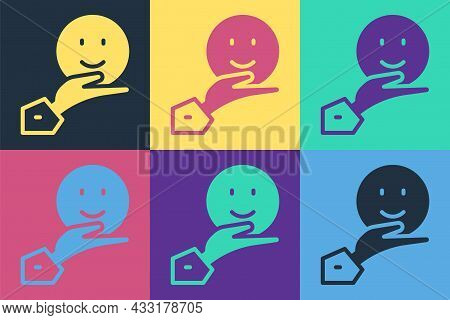 Pop Art Happy Friendship Day Icon Isolated On Color Background. Everlasting Friendship Concept. Vect