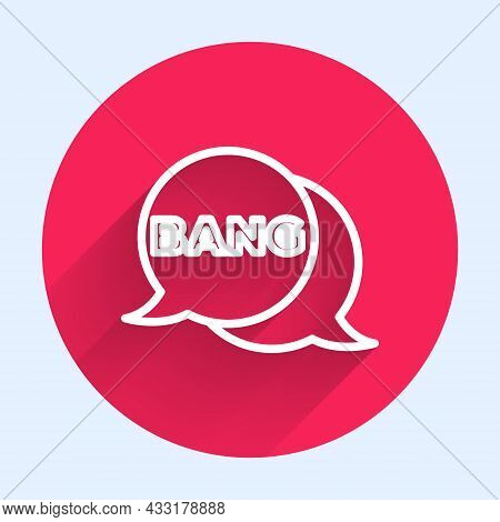 White Line Bang Boom, Gun Comic Text Speech Bubble Balloon Icon Isolated With Long Shadow. Red Circl