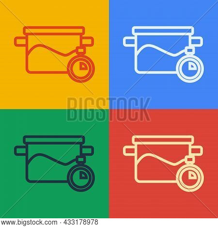 Pop Art Line Cooking Pot Icon Isolated On Color Background. Boil Or Stew Food Symbol. Vector