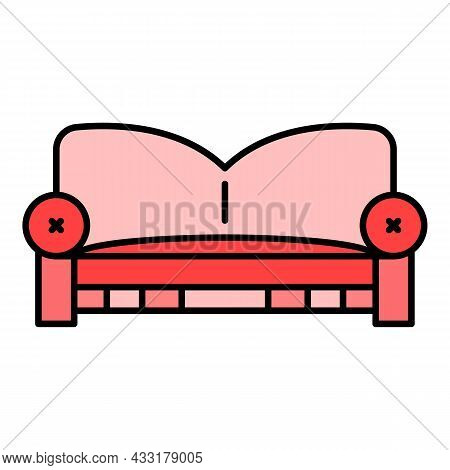 Pillow Sofa Icon. Outline Pillow Sofa Vector Icon Color Flat Isolated On White