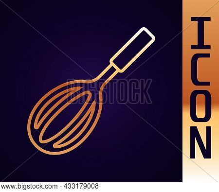 Gold Line Kitchen Whisk Icon Isolated On Black Background. Cooking Utensil, Egg Beater. Cutlery Sign
