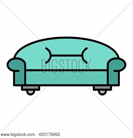 Classic Sofa Icon. Outline Classic Sofa Vector Icon Color Flat Isolated On White