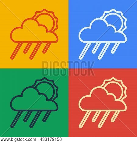 Pop Art Line Cloud With Rain And Sun Icon Isolated On Color Background. Rain Cloud Precipitation Wit