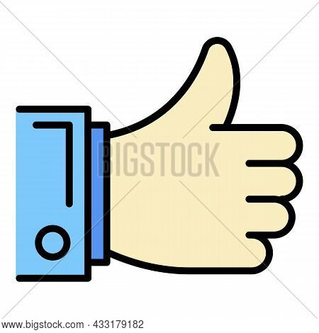 Thumb Up Icon. Outline Thumb Up Vector Icon Color Flat Isolated On White