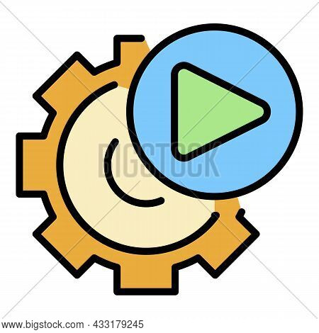 Video Gear Option Icon. Outline Video Gear Option Vector Icon Color Flat Isolated On White